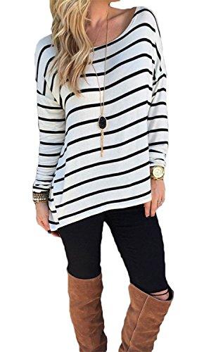 Yidarton Damen Rundhals Gestreift Stretch Basic T-Shirt Oberteile Langarmshirt Loose Bluse Tops (L / EU 40-42)