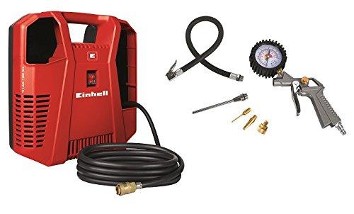 Einhell Kompressor TH-AC 190 Kit (1,1 kW, Ansaugleistung 190 l/min, 8 bar, �lfrei, inkl. Schlauch, Reifenf�llmesser, Ausblaspistole, Adapterset, tragbar)