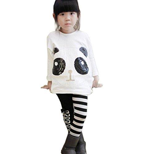 Tonsee 2ST kleinkind m�dchen Outfits Panda Fell + gestreiften Hosen Mode neu Kinder Kleiderset (140)