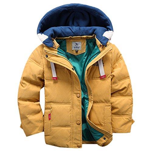 OMSLIFE Winterjacke f�r Kinder Jungen M�dchen verdickte Daunenjacken Mantel Trenchcoat Outerwear mit Kapuzen (110cm-120cm, gelb)