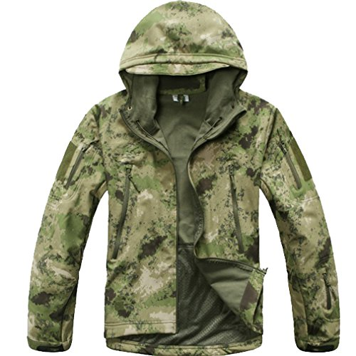 Reebow Gear Militaer Taktische Softshell Jacke outdoor Fleece Kapuzenjacke Gruen ATACS Camo 2XL
