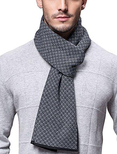 Panegy Winter Herbst Herren Strickschal 6% Wolle Gestrickter Schal Einfach Schick Gentleman 180*30 cm - Klein Kariert Schwarz Grau