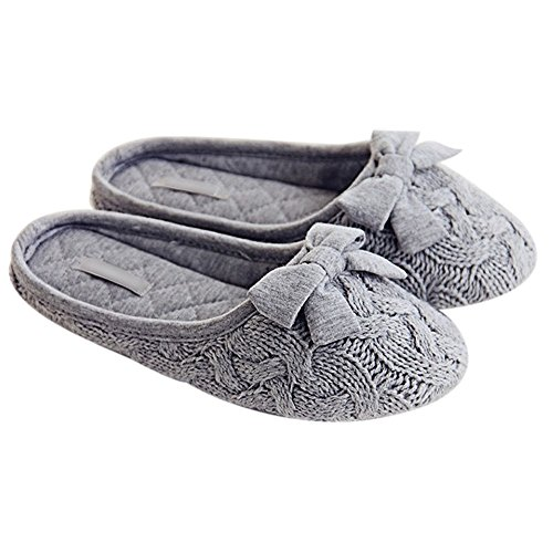 Eastlion Strickwolle Bowknot Indoor Slippers Anti-Rutsch-Hausschuhe Gr��e 38-39