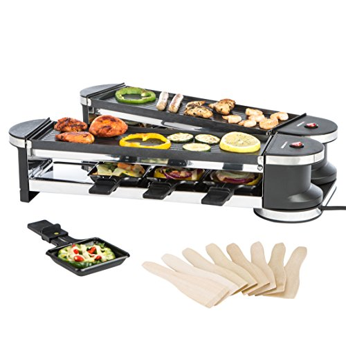 Ultratec Raclette RG1200, Duo 4 Gelenkgrill, Raclette-Grill f�r bis zu 8 Personen, 1200 W