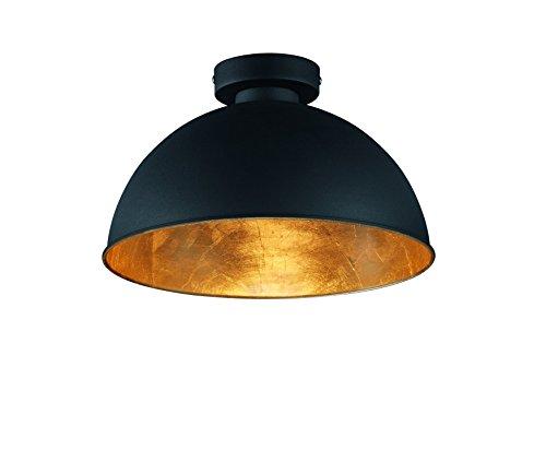Reality Leuchten Deckenleuchte, 1 x E27 ohne Leuchtmittel, Durchmesser 31 cm, Au�en schwarz, Innen gold-farbig, R60121002