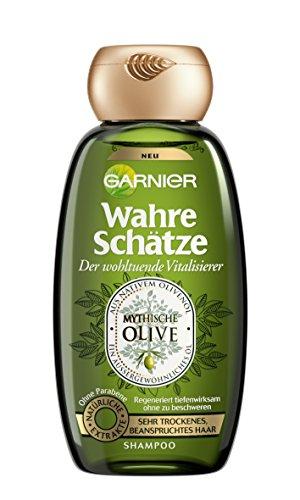 GARNIER Wahre Sch�tze Shampoo / Intensive Haarpflege bis in die Spitzen / Wohltuend und Vitalisierend (aus nativem Oliven�l - f�r sehr trockenes, beanspruchtes Haar - ohne Parabene) 1 x 250ml