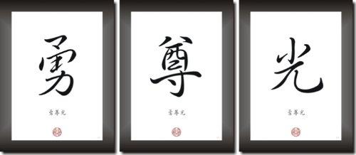 MUT, RESPEKT, EHRE Kampfkunst Kampfsport Deko Bilderset mit 3 Bildern in der Gr��e 20x30cm Kunstdruck Poster Dekoration
