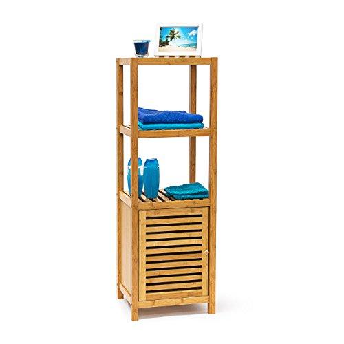 Relaxdays Badregal Bambus mit 4 Ablagefl�chen HxBxT 110x36,5x33 cm praktisches Holzregal mit mehreren Ebenen und Schrankteil mit magnetischem Verschluss mit Stauraum f�r Bad und Wohnzimmer, natur
