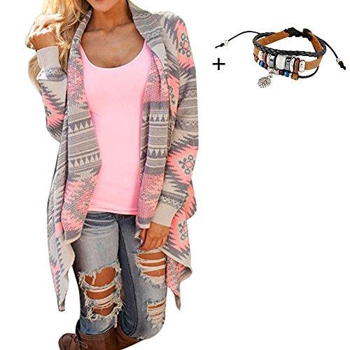 FEITONG Damen Geometric Drucken Langarm Kimono Cardigan Mantel Pullover Cover up Tops (M)
