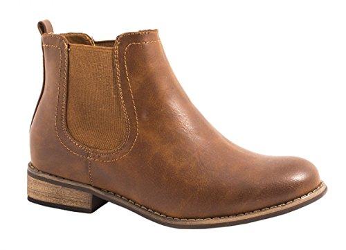 Elara Chelsea Boots | Bequeme Damen Stiefeletten | Lederoptik Blockabsatz Gr��e 40, Farbe Camel