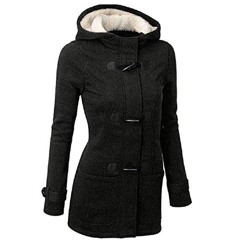 Meloo Kapuzenjacke Damen Winterjacke Wintermantel Steppjacke Kapuzenpullover Lange Parka Outwear Jacke Mantel Oberbekleidung Schwarz Grau Weinrot (S, Schwarz)