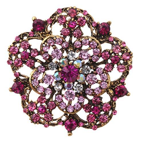 YAZILIND Damenschmuck Anh�nger Blumen Design Bronze Broschen und Pins Rose Red voller Kristall Inlay f�r Partei-Geschenk