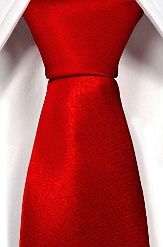 NEU: klassische Krawatte inkl. Anleitung breit viele Farben Satin Schlips Herren, Farbe:rot