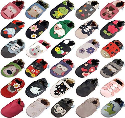 MiniFeet Premium Weiche Leder Babyschuhe, Grau Trainer 6-12 Monate