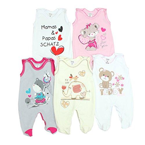 5er Set Baby Strampler 100% Baumwolle Babystrampler Strampelanzug Junge M�dchen, Farbe: M�dchen 2, Gr��e: 80