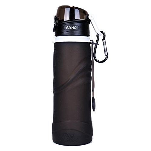 ARINO Trinkflasche BPA Frei Faltbare Silikon Flasche Mehrzweck Squeezable Wasserflasche 750ml Sportflasche mit Schutzkappe und Karabinerhaken f�r Camping Wandern Outdoor Reise Sport Jogging (Schwarz)