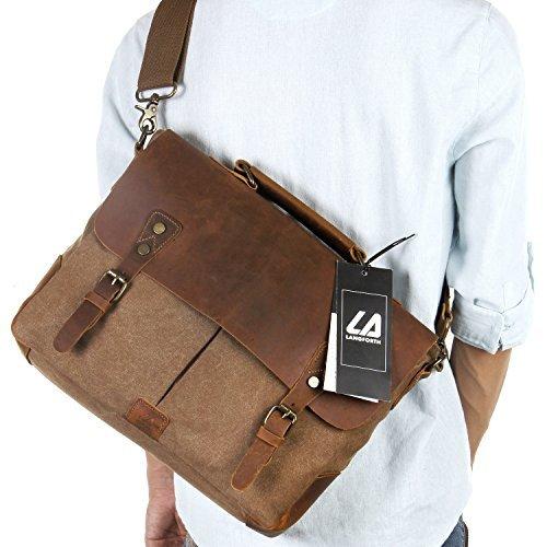 Langforth Vintage Messenger Bag Umh�ngetasche Aktentasche Schultertasche 14 Zoll Laptoptasche Notebooktasche aus Canvas und Leder Kaffee