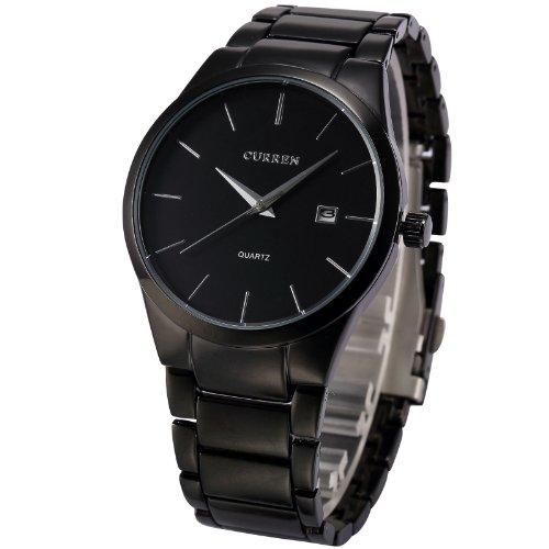 AMPM24 Analog Herren Armbanduhr Quarzuhr mit Schwarze Armband aus Metall Datumanzeige CUR048